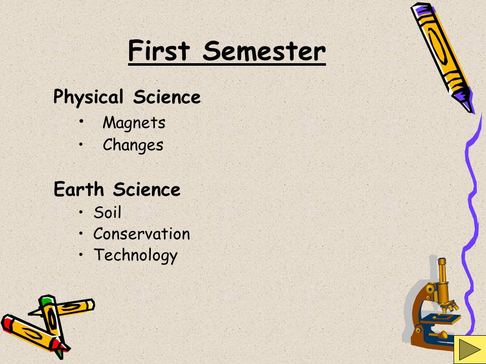 First Semester Physical Science Magnets Earth Science Changes Soil