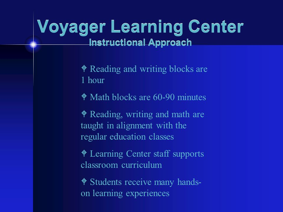 Voyager Learning Center Instructional Approach