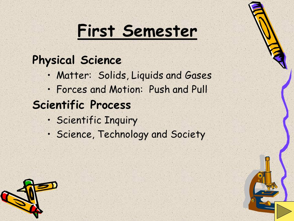 First Semester Physical Science Scientific Process