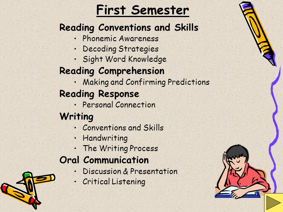 First Semester Reading Conventions and Skills Reading Comprehension