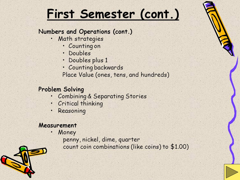 First Semester (cont.) Numbers and Operations (cont.) Math strategies