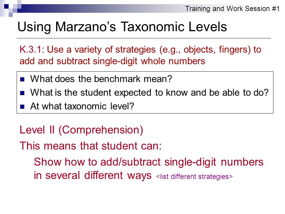 Using Marzano's Taxonomic Levels