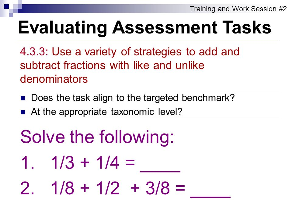 Evaluating Assessment Tasks