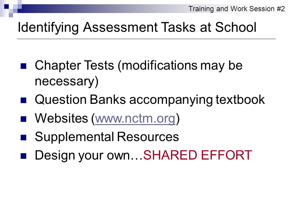 Identifying Assessment Tasks at School