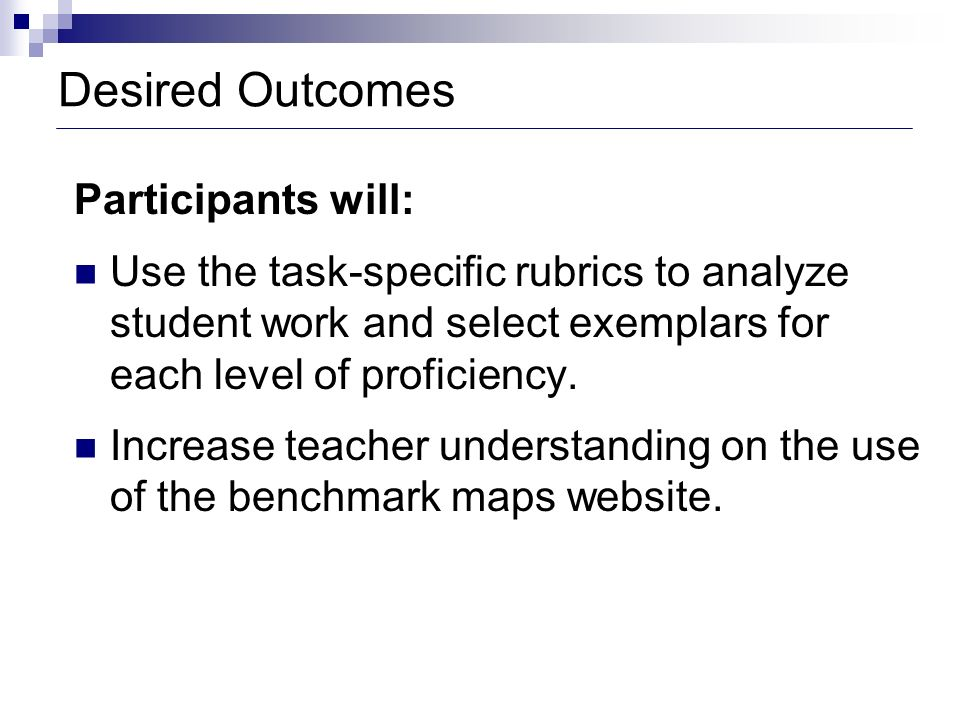 Desired Outcomes Participants will: