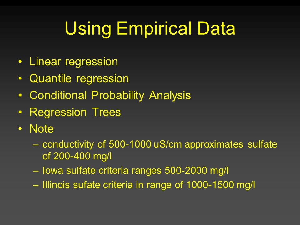 Using Empirical Data Linear regression Quantile regression