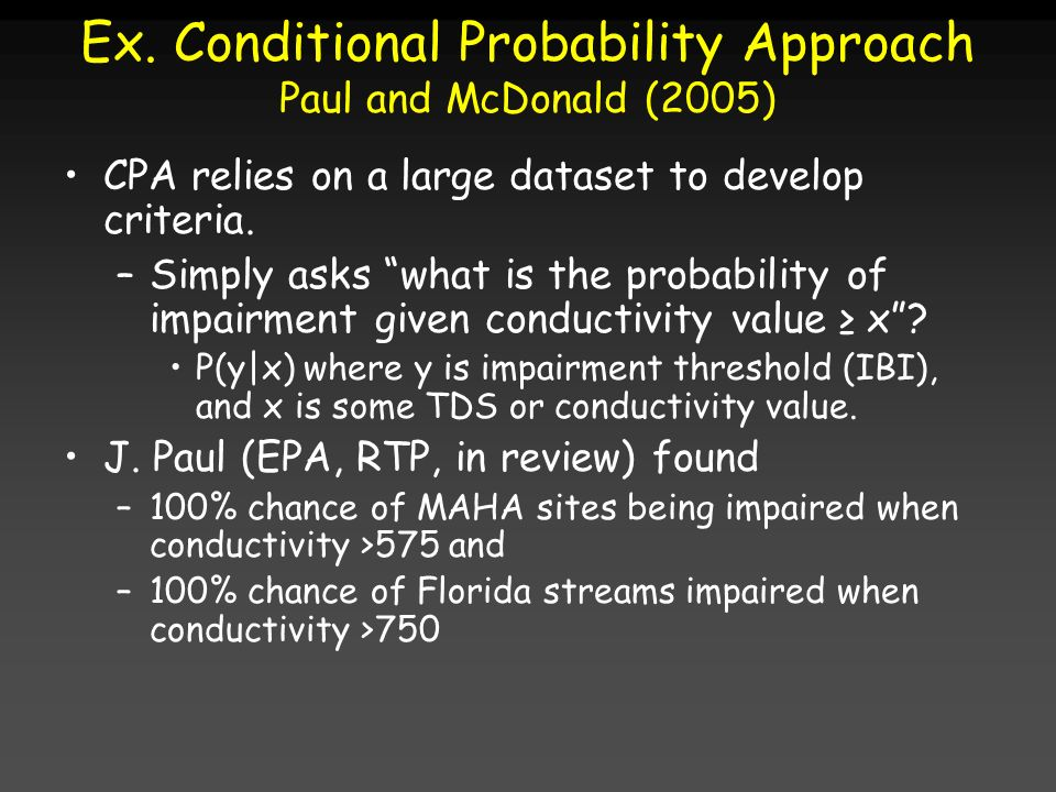 Ex. Conditional Probability Approach Paul and McDonald (2005)