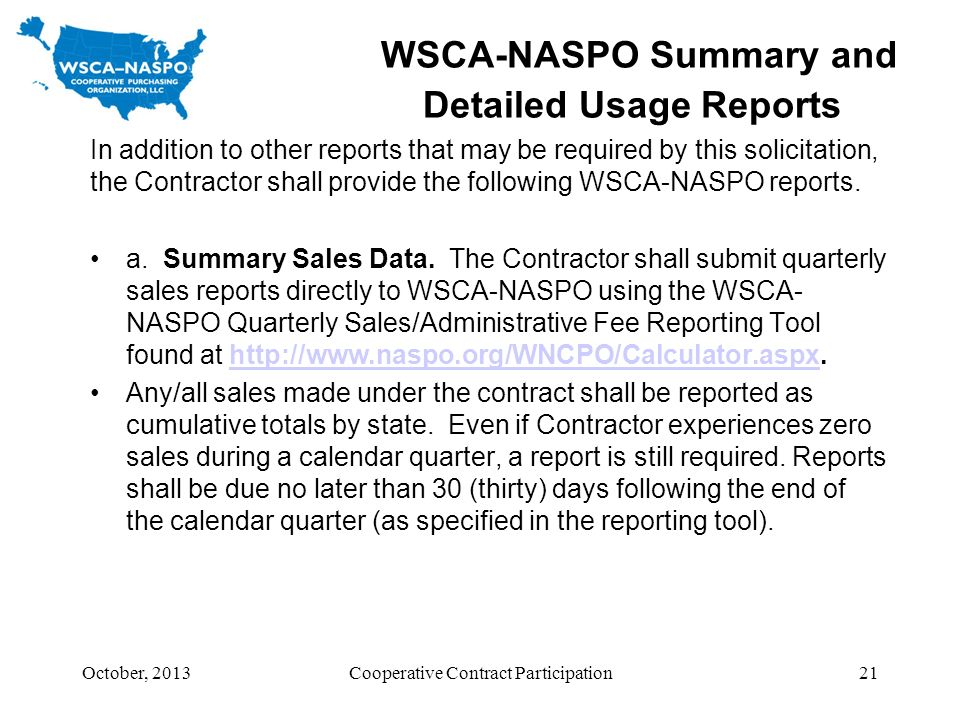 WSCA-NASPO Summary and Detailed Usage Reports