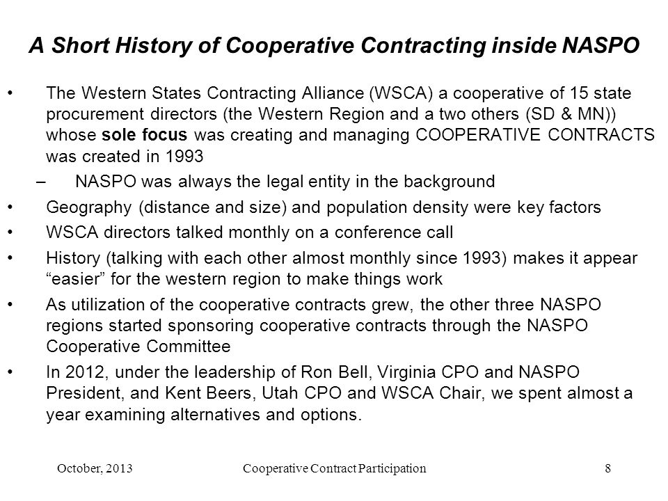 A Short History of Cooperative Contracting inside NASPO