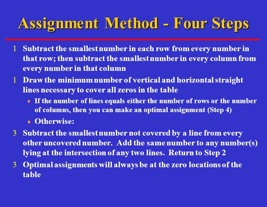 Assignment method operations management