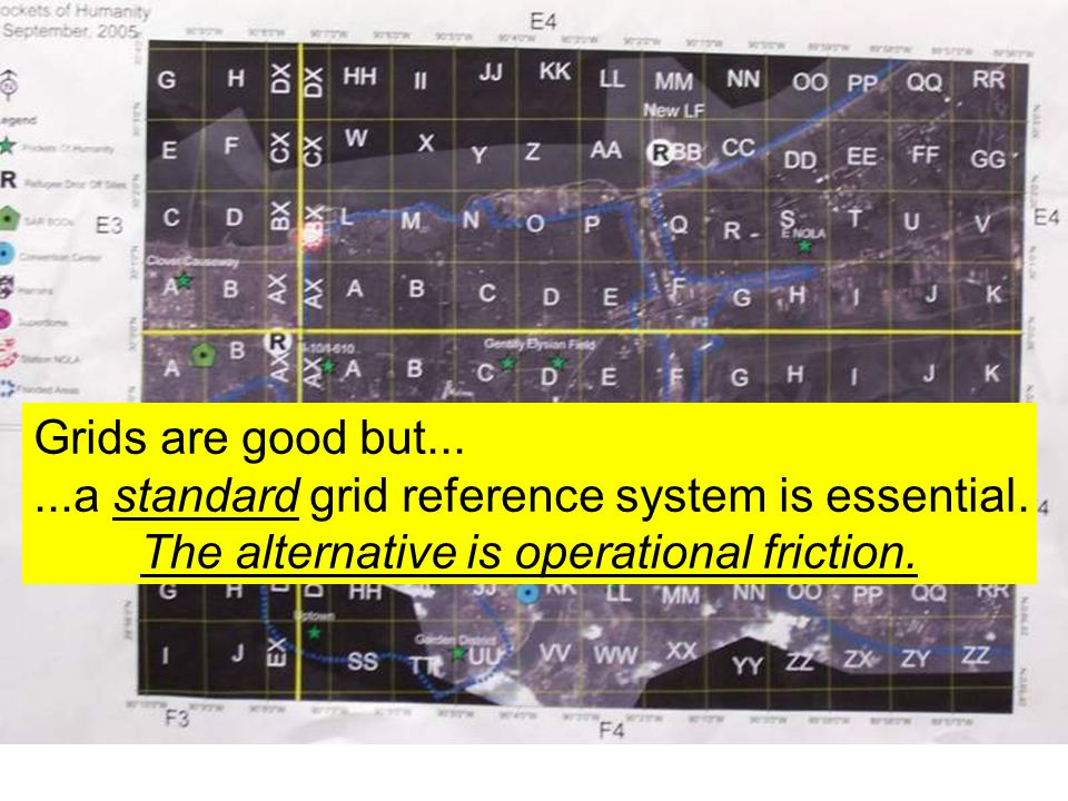 Grids are good but... ...a standard grid reference system is essential.