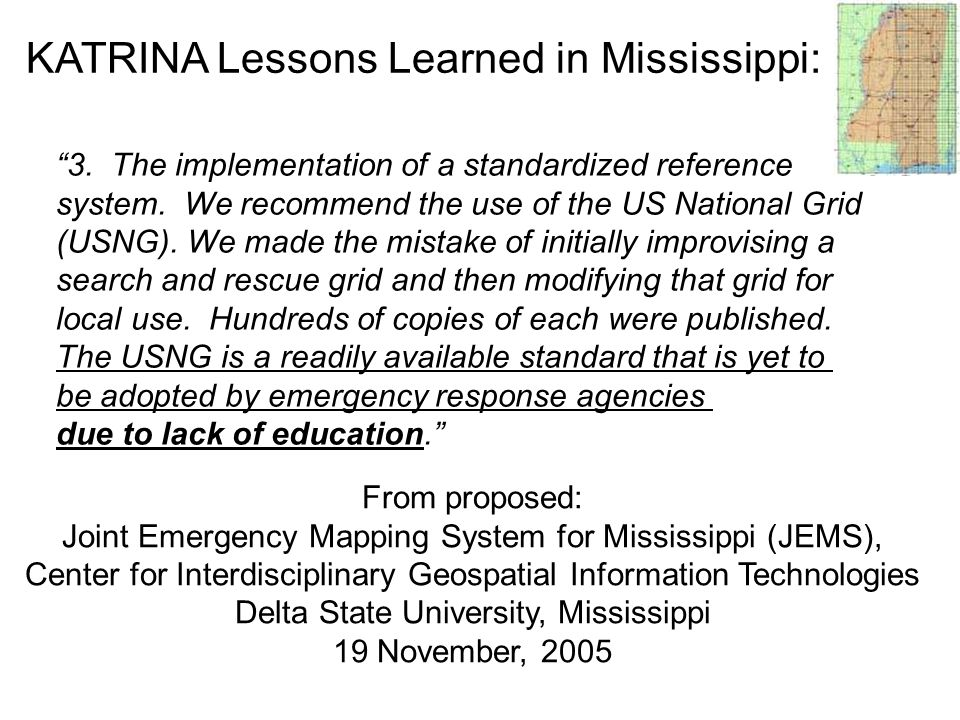 KATRINA Lessons Learned in Mississippi: