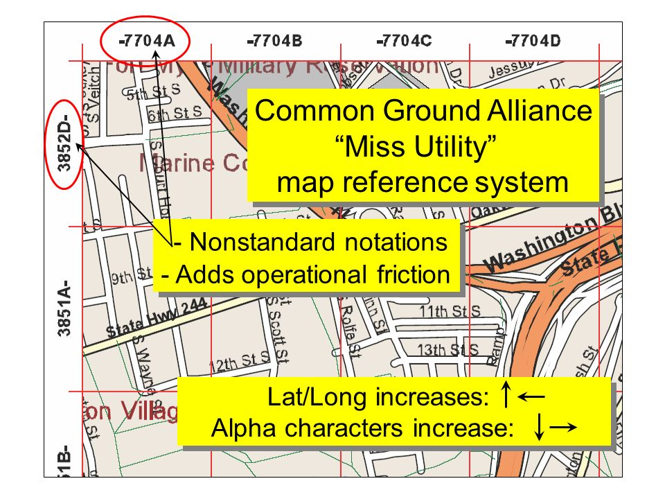 Common Ground Alliance Miss Utility map reference system