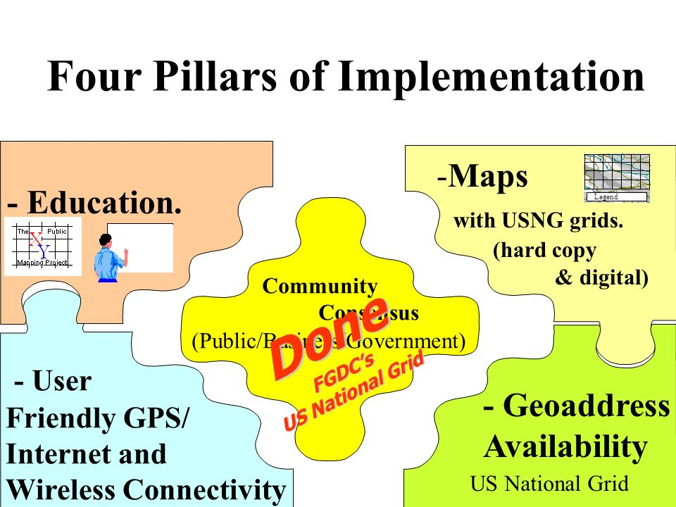 Done Four Pillars of Implementation Maps with USNG grids. - Education.