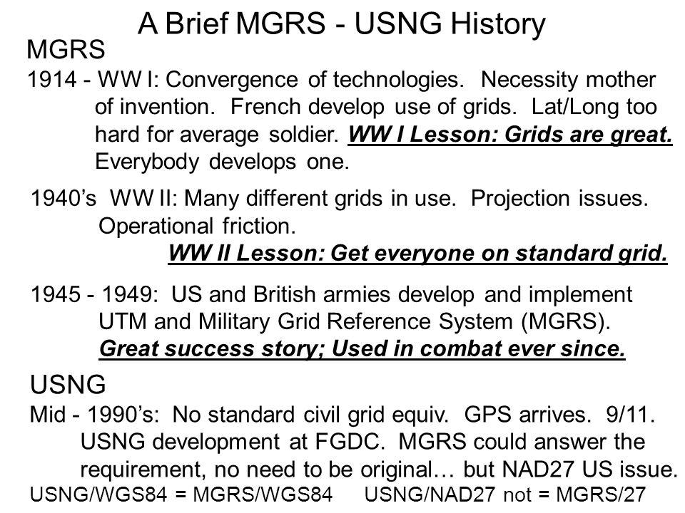 A Brief MGRS - USNG History