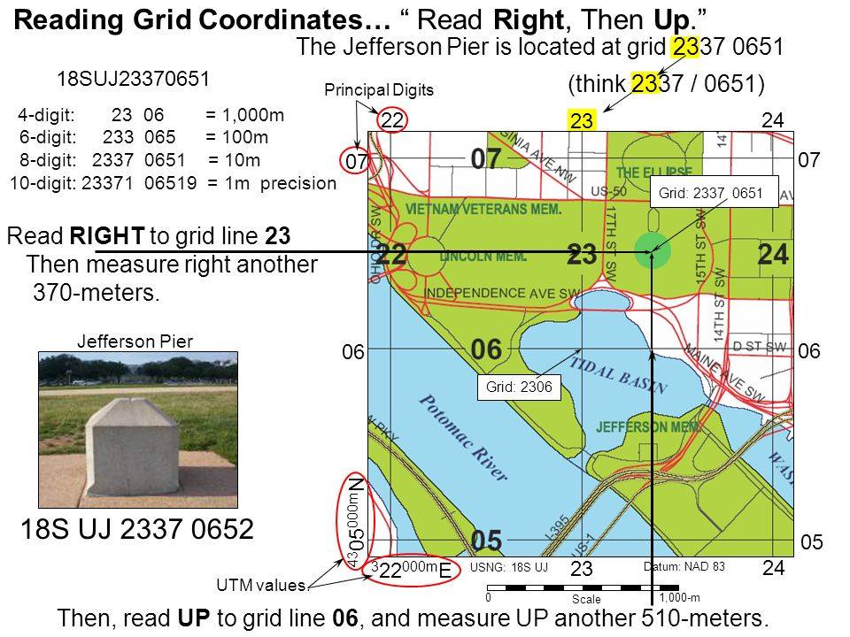 Reading Grid Coordinates… Read Right, Then Up.