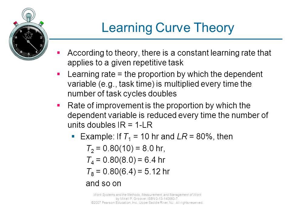 apply the learning curve theory 8 A common learning curve shows that the cumulative average time to complete a manual task which involves learning will decrease 20% whenever volume doubles this is referred to as an 80% learning curve let's illustrate the 80% learning curve with a person learning to design and code websites of.