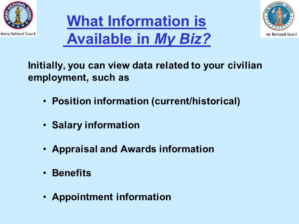What Information is Available in My Biz