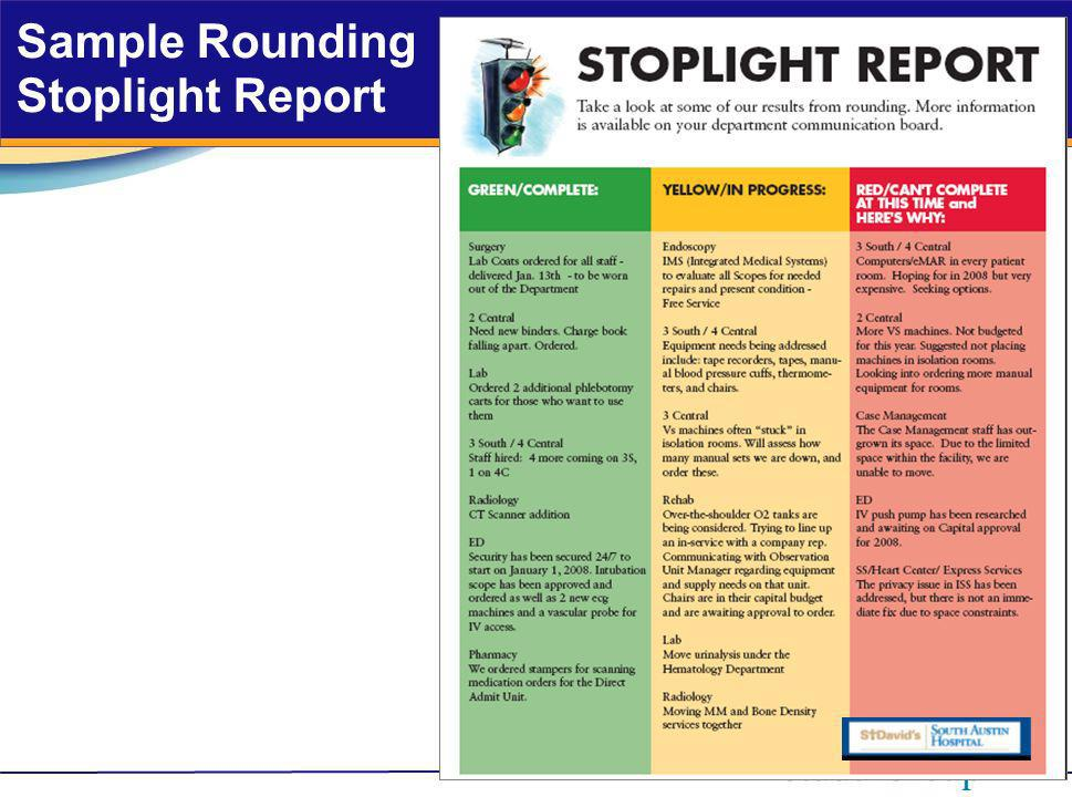 Sample Rounding Stoplight Report