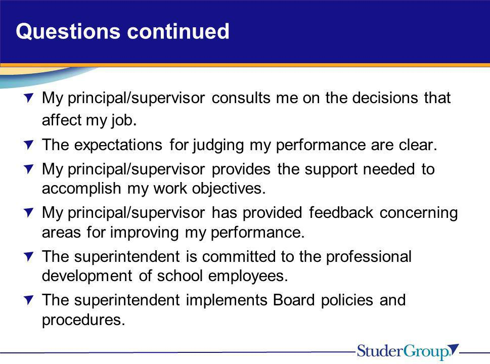 Questions continued My principal/supervisor consults me on the decisions that affect my job. The expectations for judging my performance are clear.