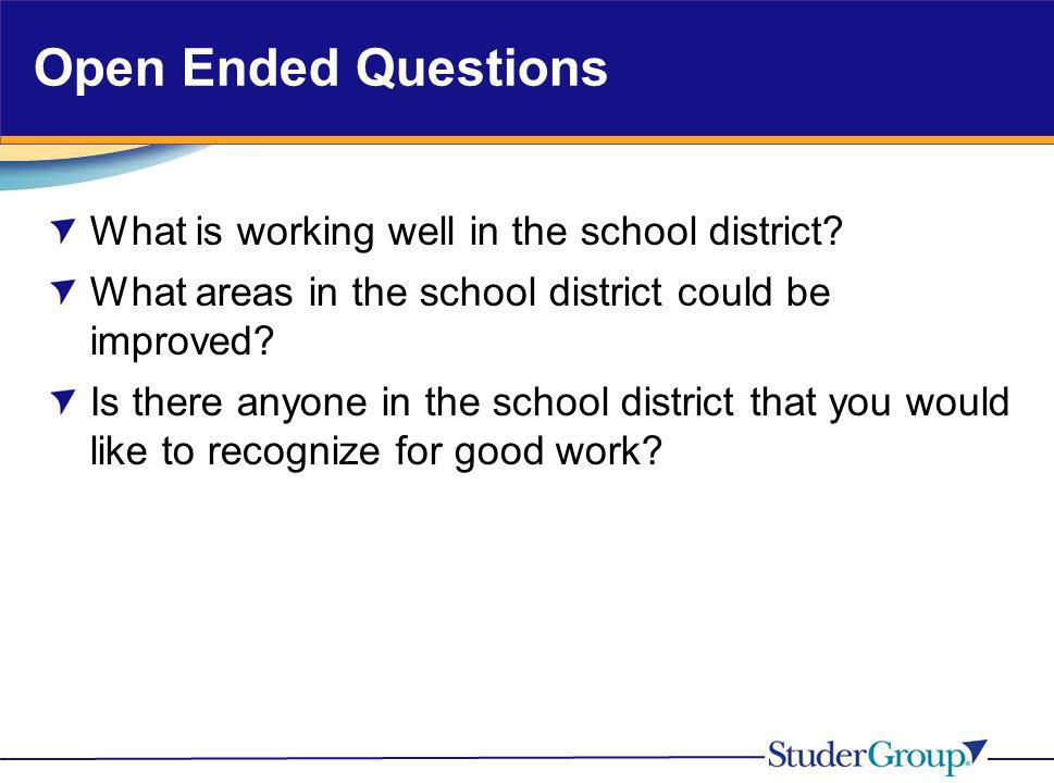 Open Ended Questions What is working well in the school district