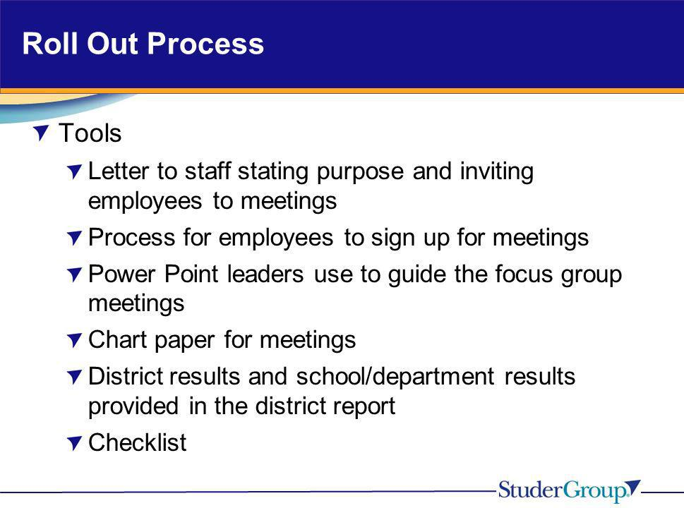 Roll Out Process Tools. Letter to staff stating purpose and inviting employees to meetings. Process for employees to sign up for meetings.