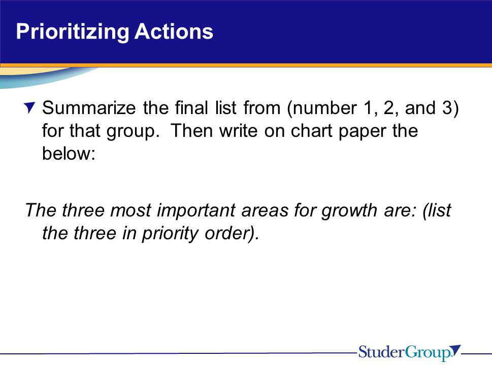 Prioritizing Actions Summarize the final list from (number 1, 2, and 3) for that group. Then write on chart paper the below: