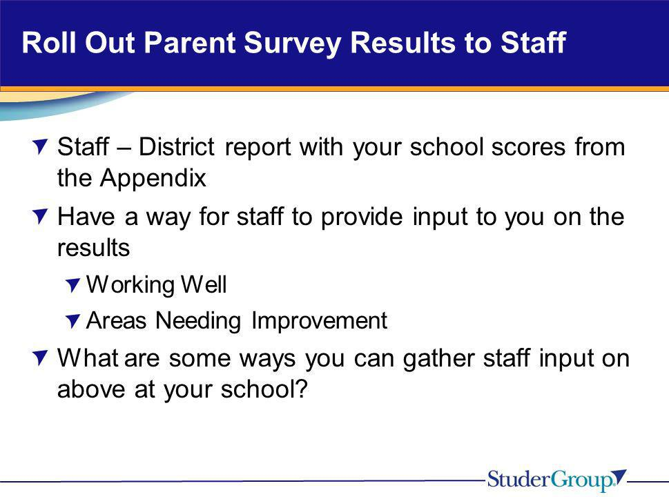 Roll Out Parent Survey Results to Staff