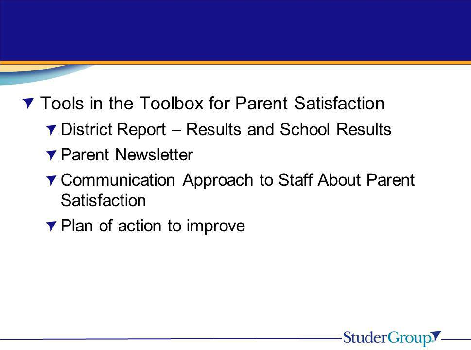 Tools in the Toolbox for Parent Satisfaction