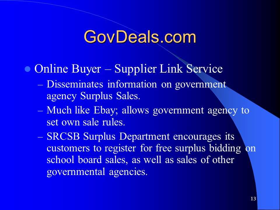 GovDeals.com Online Buyer – Supplier Link Service