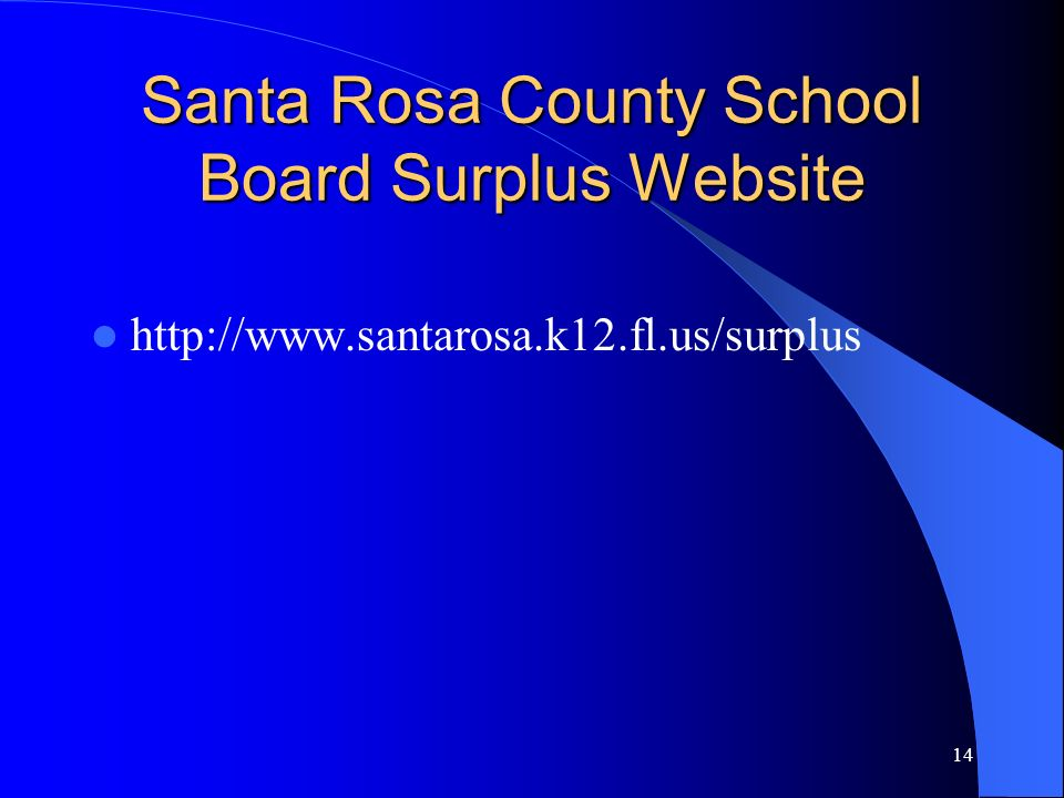 Santa Rosa County School Board Surplus Website