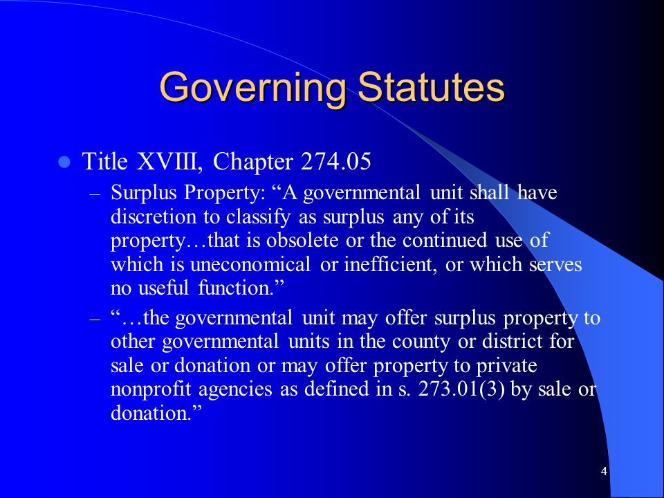 Governing Statutes Title XVIII, Chapter 274.05