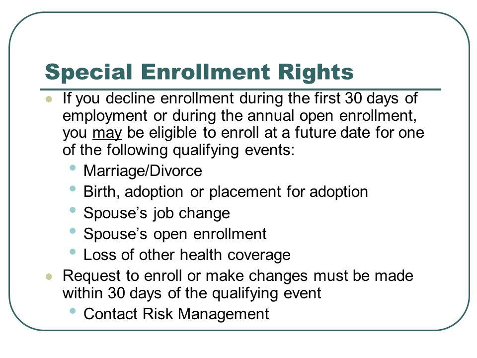 Special Enrollment Rights