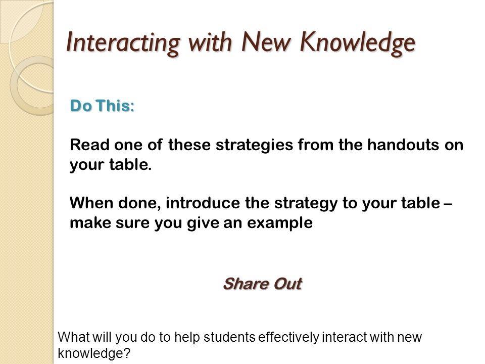 Interacting with New Knowledge