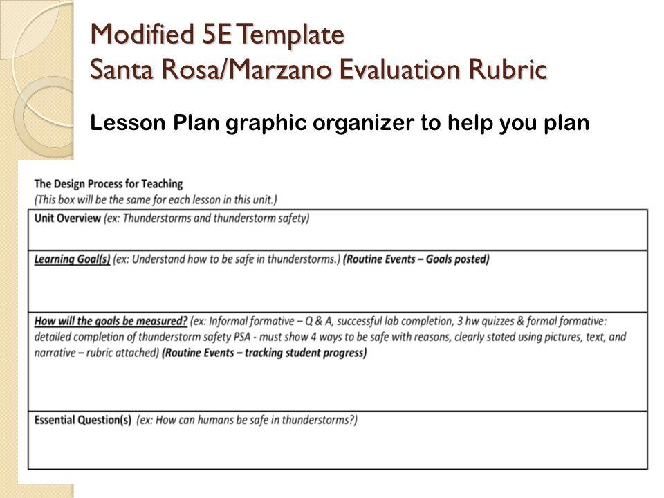 Modified 5E Template Santa Rosa/Marzano Evaluation Rubric