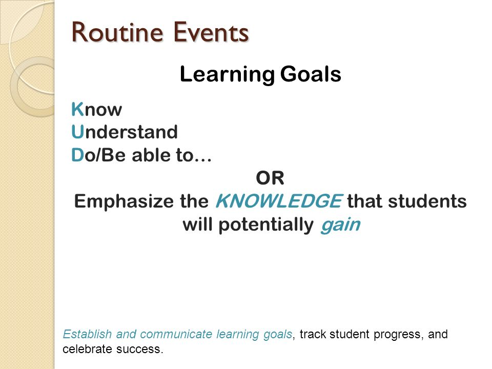 Emphasize the KNOWLEDGE that students will potentially gain