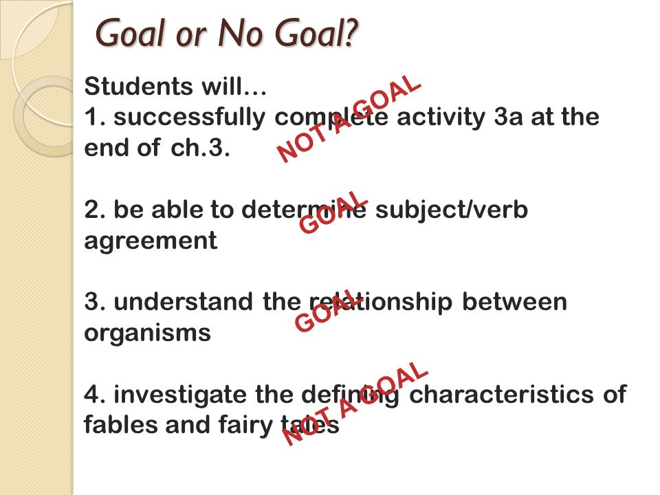 Goal or No Goal Students will… NOT A GOAL