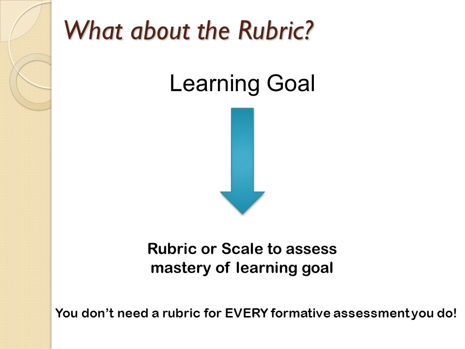 Rubric or Scale to assess mastery of learning goal