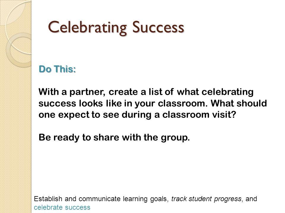 Celebrating Success Do This: