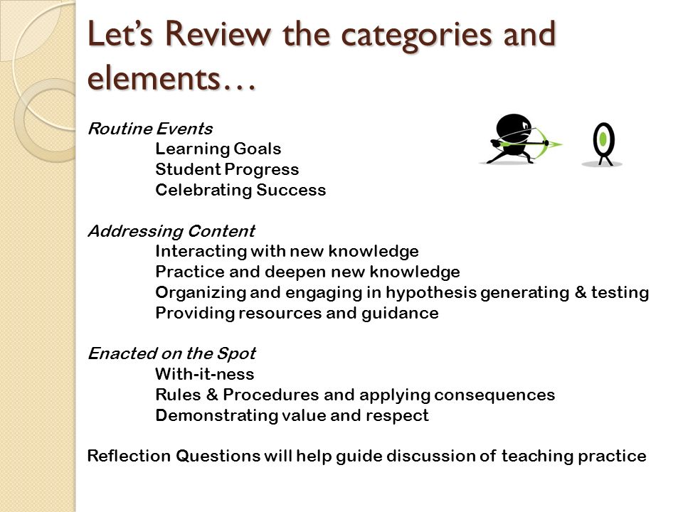 Let's Review the categories and elements…