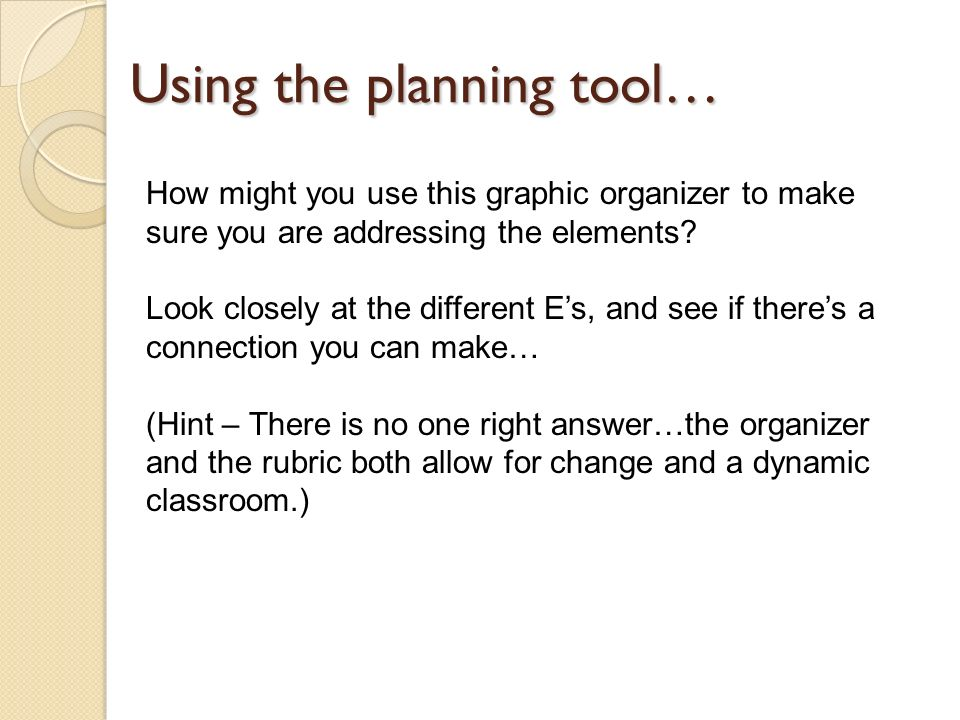 Using the planning tool…