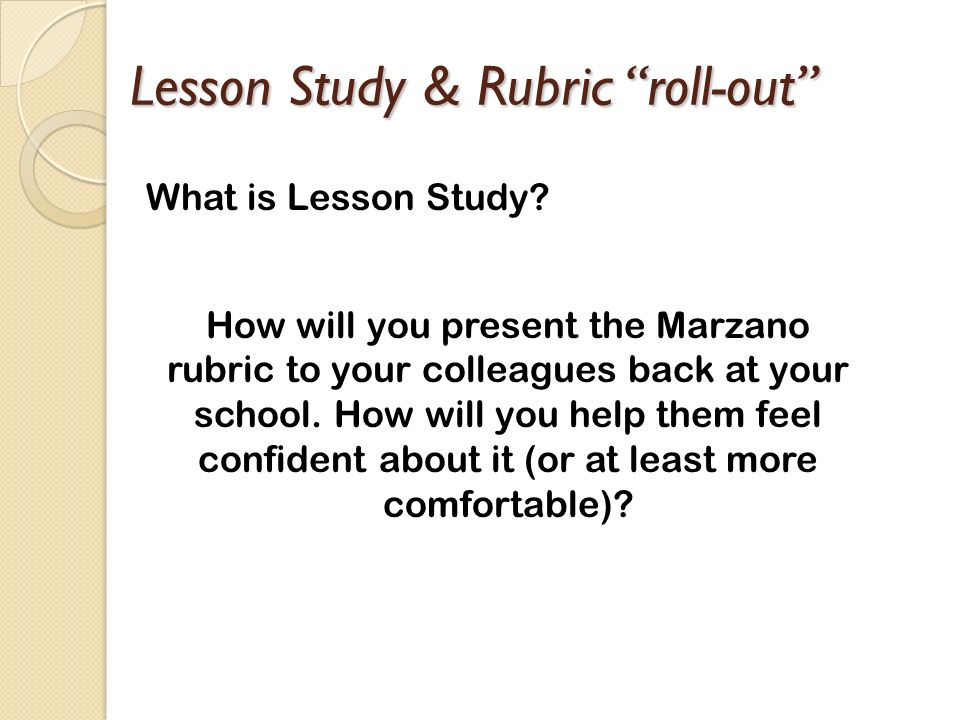 Lesson Study & Rubric roll-out