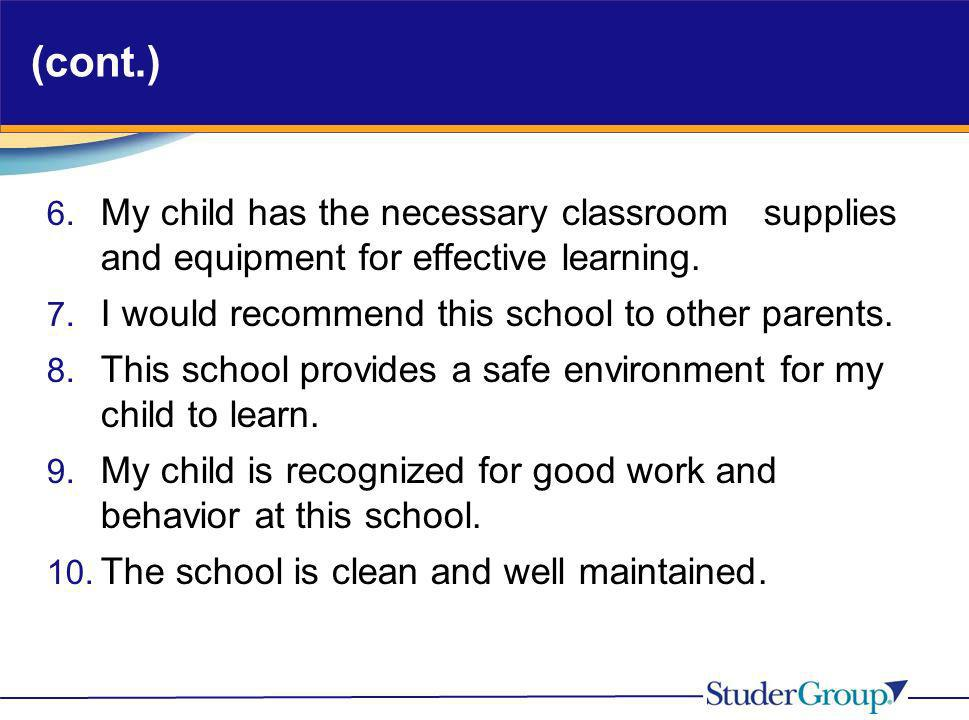 (cont.)My child has the necessary classroom supplies and equipment for effective learning. I would recommend this school to other parents.