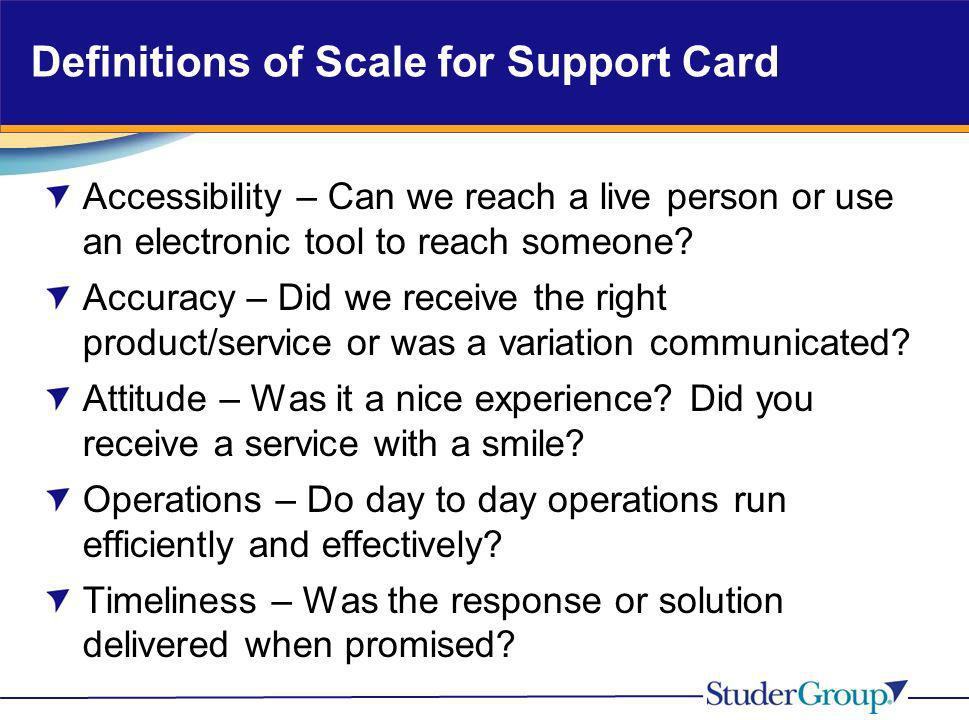 Definitions of Scale for Support Card