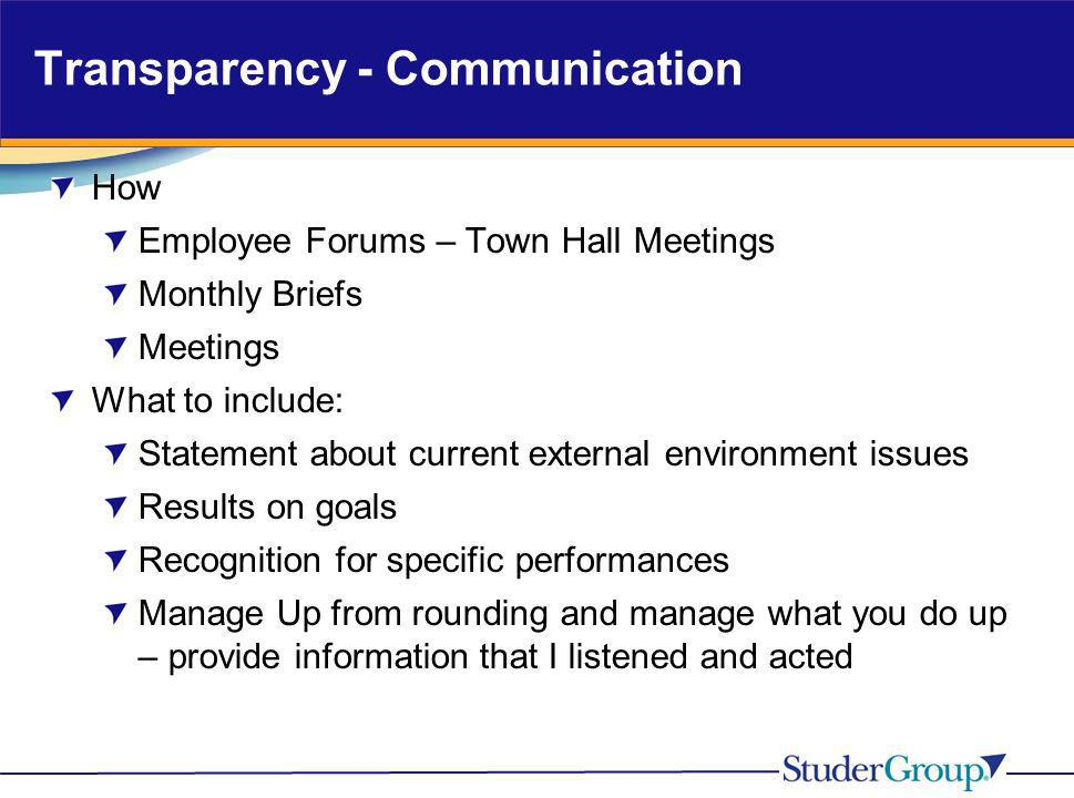 Transparency - Communication