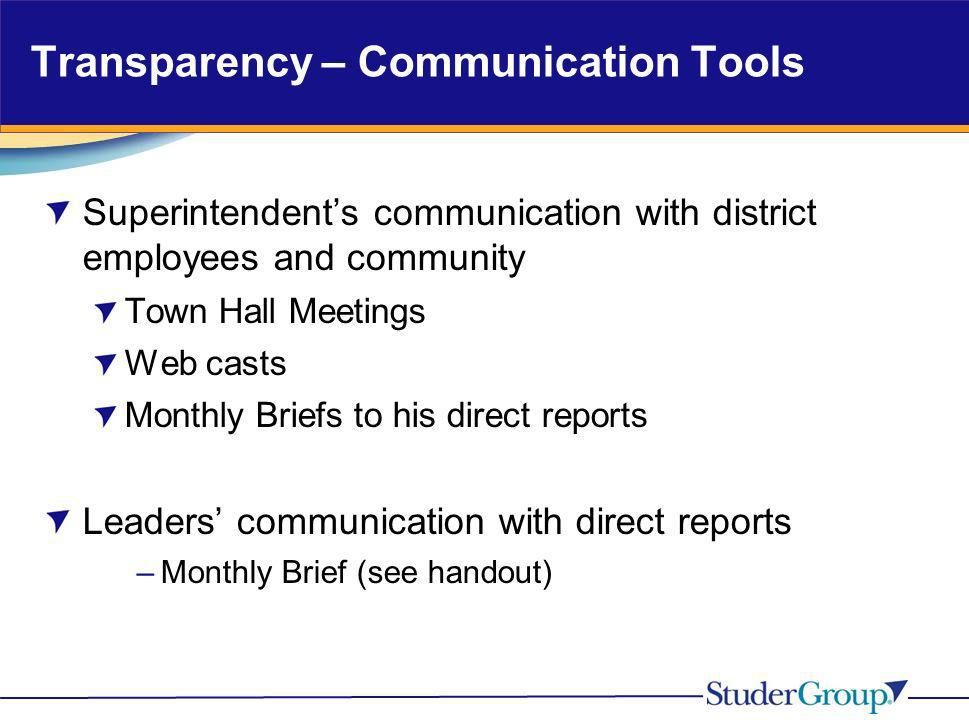 Transparency – Communication Tools