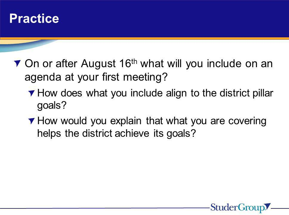 Practice On or after August 16th what will you include on an agenda at your first meeting