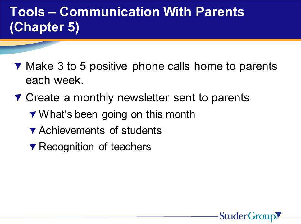 Tools – Communication With Parents (Chapter 5)