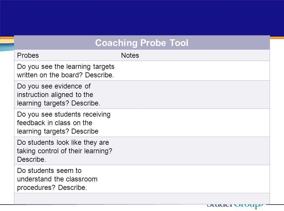 Coaching Probe Tool Probes Notes