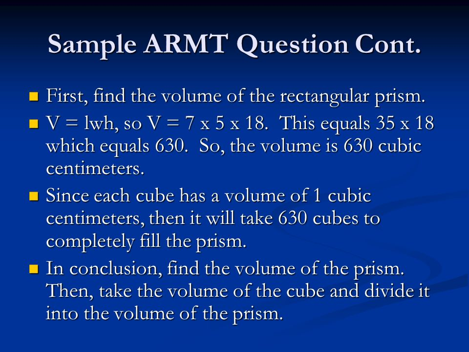 Sample ARMT Question Cont.
